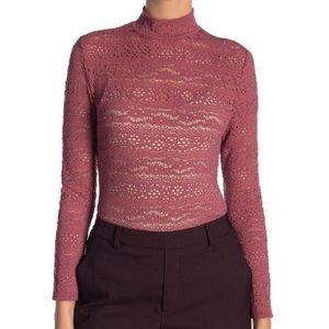 Melrose and Market Pink Sheer Floral Lace Mock